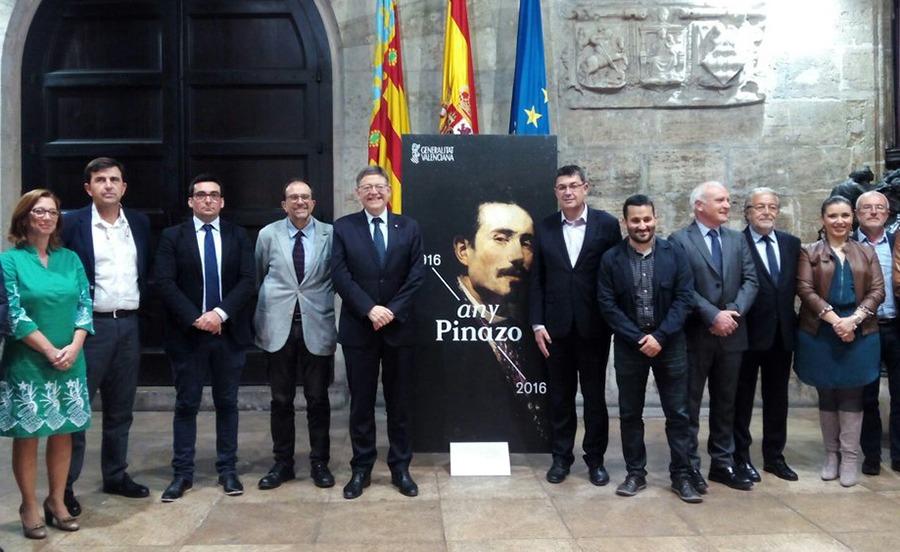 Presentación en el Palau de la Generalitat Valenciana de la marca conmemorativa del Año Pinazo. 2016.